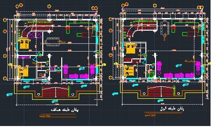 دانلود پلان معماری اسکلت بتنی (۲ طبقه) به ابعاد ۱۱٫۶۵*۱۵٫۴۵