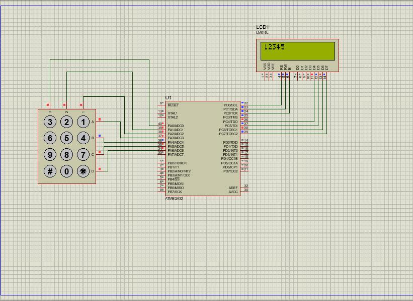 دانلود کدنویسی نوشتن اعداد روی LCD توسط کی پد در محیط پروتئوس و زبان C در محیط کدویژن